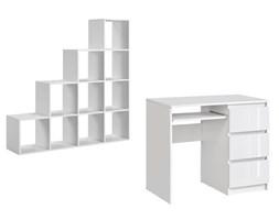 Zestaw Biurko komputerowe + regał schodkowy na książki biały połysk