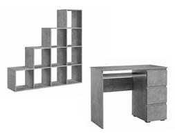 Zestaw Biurko komputerowe + regał schodkowy na książki beton