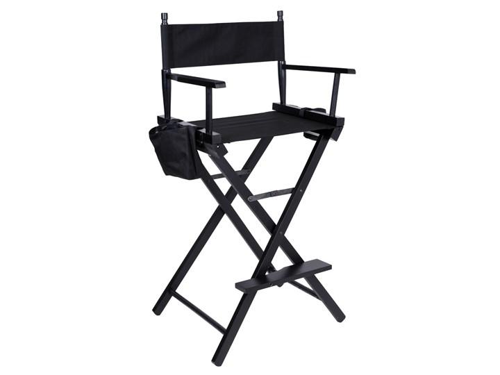 Krzesło reżyserskie do makijażu SPIELBERG składane czarne Kolor Szary Drewno Hoker z oparciem Styl Industrialny
