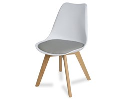 Krzesło z skórzaną szarą poduszką na drewnianych bukowych nogach nowoczesne białe 007 WF