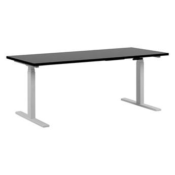 Regulowane biurko czarny drewniany blat stalowa biała rama elektryczna zmiana wysokości 180 x 80 cm nowoczesny design