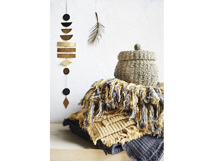 NARZUTA PLED Z FRĘDZLAMI MUSZTARDOWY KOLOR Wzór W kratkę 125x150 cm Koc Bawełna Kategoria Koce i pledy