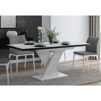 Rozkładany stół jadalniany w połysku Oskar biały z czarnymi obrzeżami