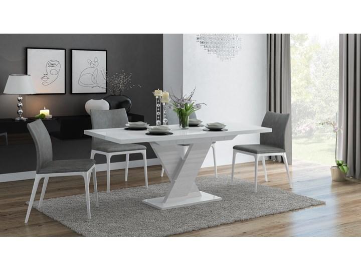 Biały stół rozkładany do jadalni w wysokim połysku Oskar Rozkładanie Rozkładane