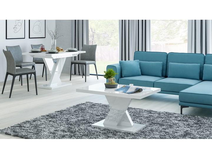 Biały stół rozkładany do jadalni w wysokim połysku Oskar Rozkładanie Rozkładane Pomieszczenie Stoły do jadalni