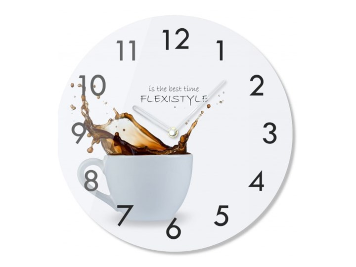 Zegar szklany okrągły Kawa 2 Szkło Zegar ścienny Zegar kuchenny Styl Klasyczny Kategoria Zegary