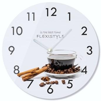 Zegar szklany okrągły Kawa 3
