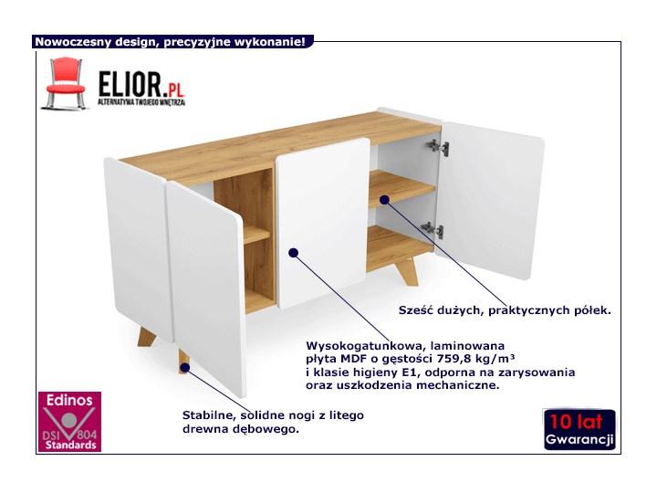 Skandynawska komoda z półkami Larso 3X Pomieszczenie Salon Z szafkami Kolor Biały