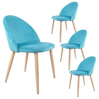 Krzesło tapicerowane Aston skandynawskie turkusowe zestaw 4 szt. welurowe