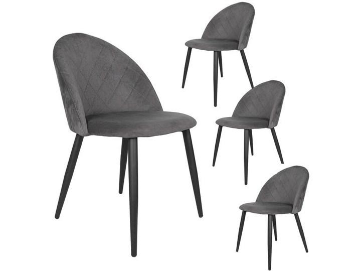 Krzesło tapicerowane Aston skandynawskie szare zestaw 4 szt. welurowe