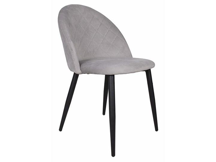Krzesło tapicerowane Aston skandynawskie jasnoszare welurowe