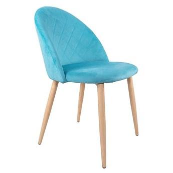 Krzesło tapicerowane Aston skandynawskie turkusowe welurowe