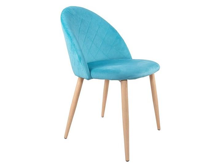 Krzesło tapicerowane Aston skandynawskie turkusowe welurowe Drewno Tworzywo sztuczne Wysokość 80 cm Głębokość 45 cm Tkanina Metal Szerokość 45 cm Szerokość 51 cm Kolor