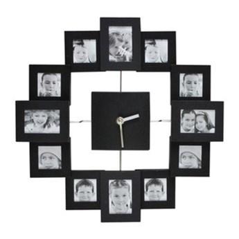 Pomysłowy zegar ścienny z ramkami na zdjęcia śr.35,5