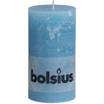 Niebieska świeca ozdobna Rustic  walec duży