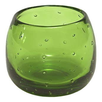 Okrągły świecznik szklany Bubble zielony wys.8,5 OUTLET