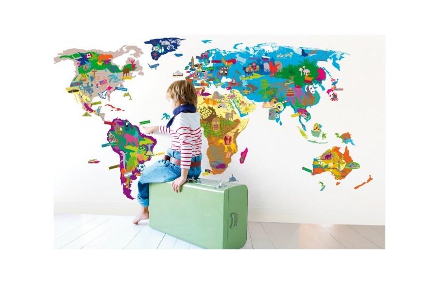 Mapa wiata naklejki zdj cia pomys y inspiracje - Alfombras de vinilo infantiles ...