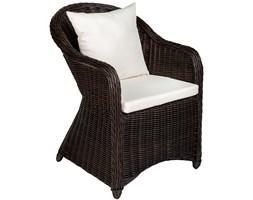 Fotel ogrodowy z polirattanu i aluminium + poduszki brązowy
