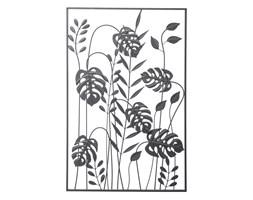 WIOSENNA ŁĄKA Z MONSTERĄ dekoracja ścienna metalowa w czarnej ramie, 100x65 cm