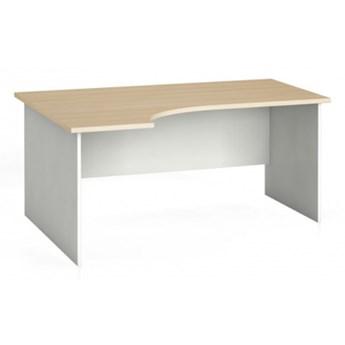 Stół biurowy ergonomiczny 160 x 120 cm, biały/dąb naturalny, lewy