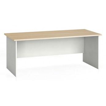 Stół biurowy ergonomiczny 180 x 120 cm, biały/dąb naturalny, prawy