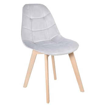 Krzesło tapicerowane AUSTIN VELVET srebrno-szary
