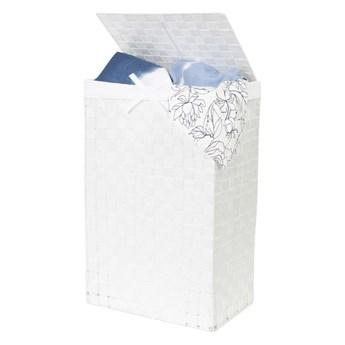 Biały kosz na pranie z pokrywką Compactor Laundry Basket Linen, wys. 60 cm