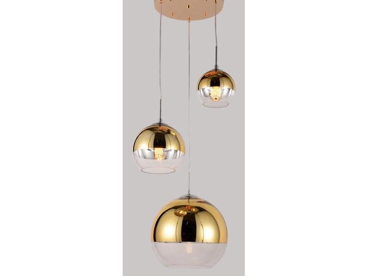 NOWOCZESNA LAMPA WISZĄCA ZŁOTA VERONI TRIO Metal Szkło Styl Nowoczesny Lampa z abażurem Lampa z kloszem Ilość źródeł światła 3 źródła