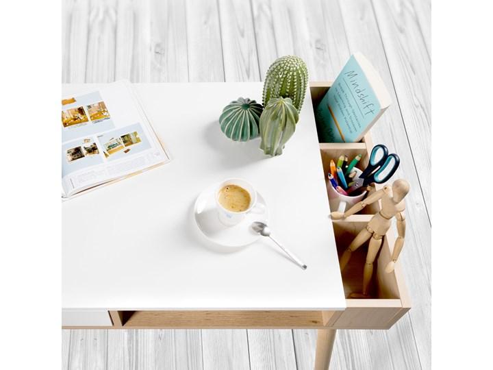 Skandynawskie biurko młodzieżowe Sofie z pojemnikami na przybory Biurko z nadstawką Szerokość 110 cm Głębokość 55 cm Biurko tradycyjne Drewno Pomieszczenie Pokój nastolatka