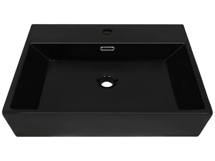 vidaXL Umywalka z ceramiki z otworem na kran 60,5x42,5x14,5 cm, czarna Szkło Szerokość 61 cm Kolor Czarny Ceramika Kategoria Umywalki