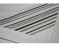 Obrus plamoodporny biały Irys haft szaro grafitowy