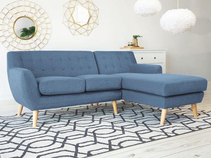 Narożnik lewostronny niebieski 3-osobowy pikowany styl skandynawski W kształcie L Szerokość 182 cm Boki Z bokami Nóżki Na nóżkach