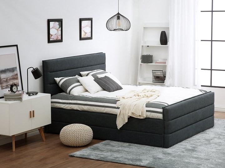 Łóżko ciemnoszare tapicerowane 180 x 200 cm ze stelażem wezgłowiem i zanóżkiem Kategoria Łóżka do sypialni Łóżko tapicerowane Kolor Czarny