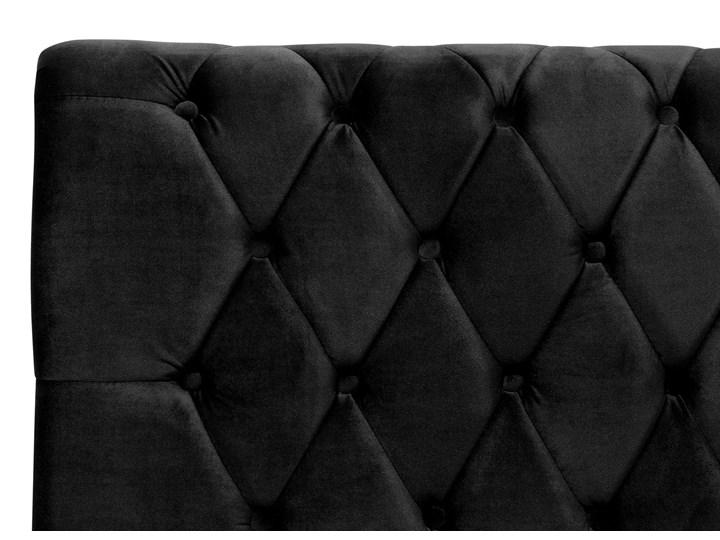Łóżko ze stelażem czarne welurowe 180 x 200 cm z zagłówkiem pikowane styl glamour Drewno Łóżko tapicerowane Łóżko pikowane Styl Klasyczny