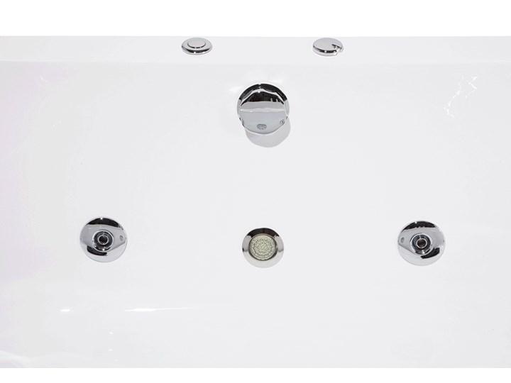 Wanna z hydromasażem biała narożna 55 x 140 cm wolnostojąca oświetlenie LED Stal Symetryczne Wolnostojące Akryl Kolor Biały