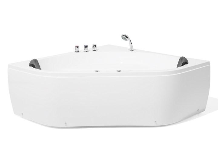 Wanna z hydromasażem biała narożna 55 x 140 cm wolnostojąca oświetlenie LED Wolnostojące Kolor Biały Akryl Stal Symetryczne Kategoria Wanny