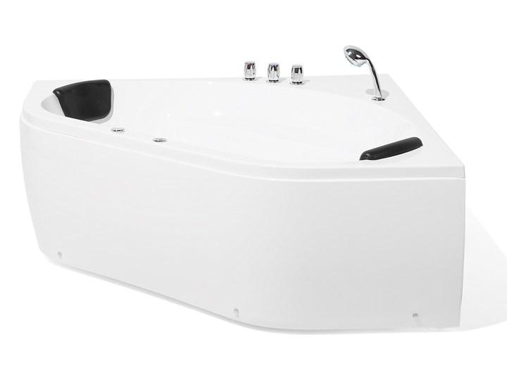 Wanna z hydromasażem biała narożna 55 x 140 cm wolnostojąca oświetlenie LED Stal Wolnostojące Symetryczne Akryl Kolor Biały