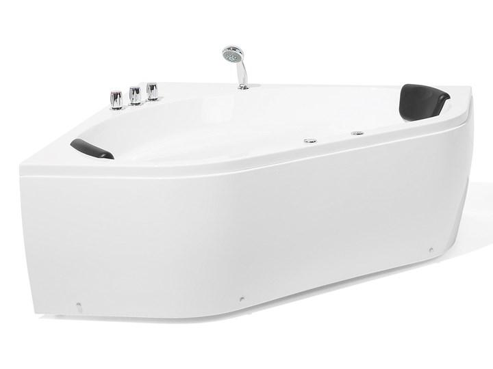 Wanna z hydromasażem biała narożna 55 x 140 cm wolnostojąca oświetlenie LED Wolnostojące Symetryczne Stal Akryl Kolor Biały