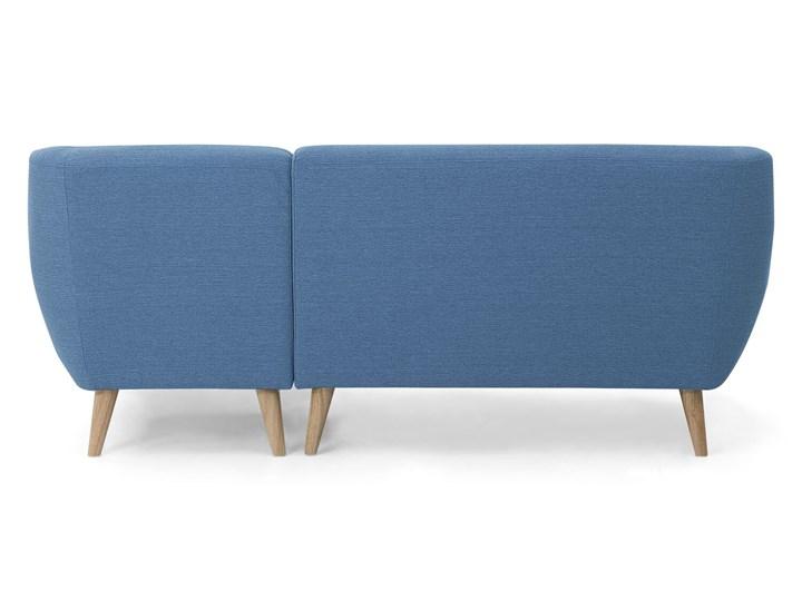 Narożnik lewostronny niebieski 3-osobowy pikowany styl skandynawski Szerokość 182 cm W kształcie L Typ Pikowane