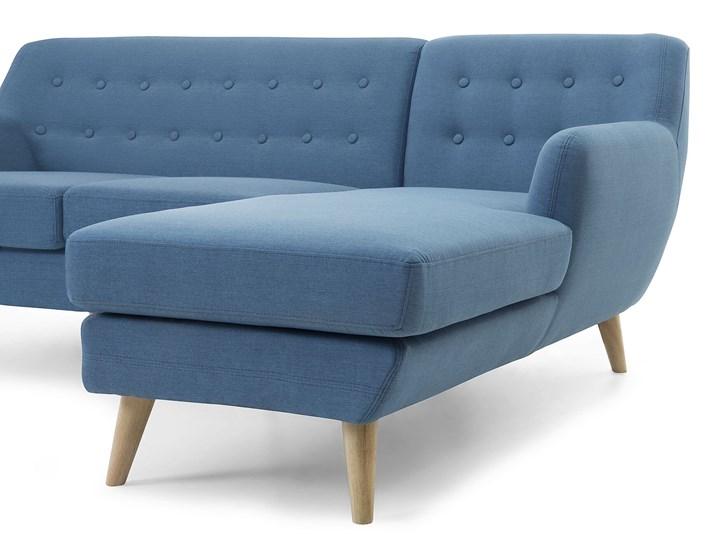 Narożnik lewostronny niebieski 3-osobowy pikowany styl skandynawski Szerokość 182 cm W kształcie L Kategoria Narożniki