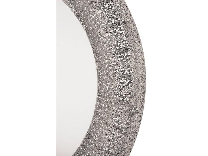 Lustro wiszące ścienne srebrne 80 cm Kategoria Lustra Lustro z ramą Okrągłe Kolor Szary