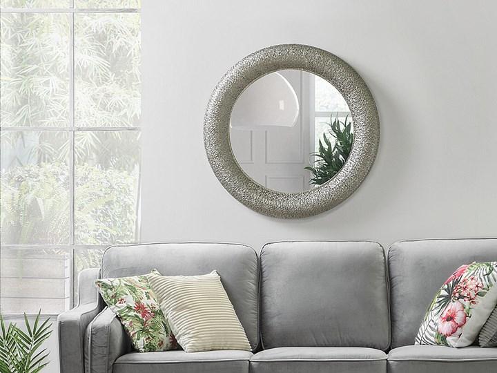 Lustro wiszące ścienne srebrne 80 cm Okrągłe Lustro z ramą Styl Vintage