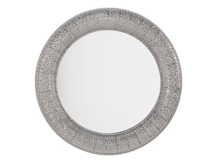 Lustro wiszące ścienne srebrne 80 cm Kategoria Lustra Lustro z ramą Okrągłe Styl Vintage