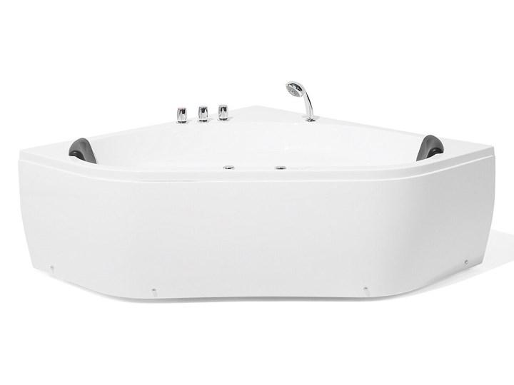 Wanna z hydromasażem biała narożna 55 x 140 cm wolnostojąca oświetlenie LED Kolor Biały Symetryczne Stal Akryl Wolnostojące Kategoria Wanny