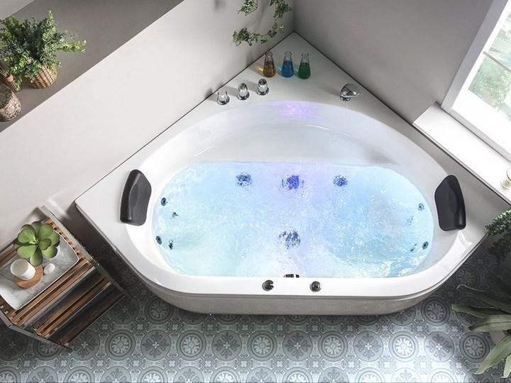 Wanna z hydromasażem biała narożna 55 x 140 cm wolnostojąca oświetlenie LED Symetryczne Kolor Biały Akryl Wolnostojące Stal Kategoria Wanny