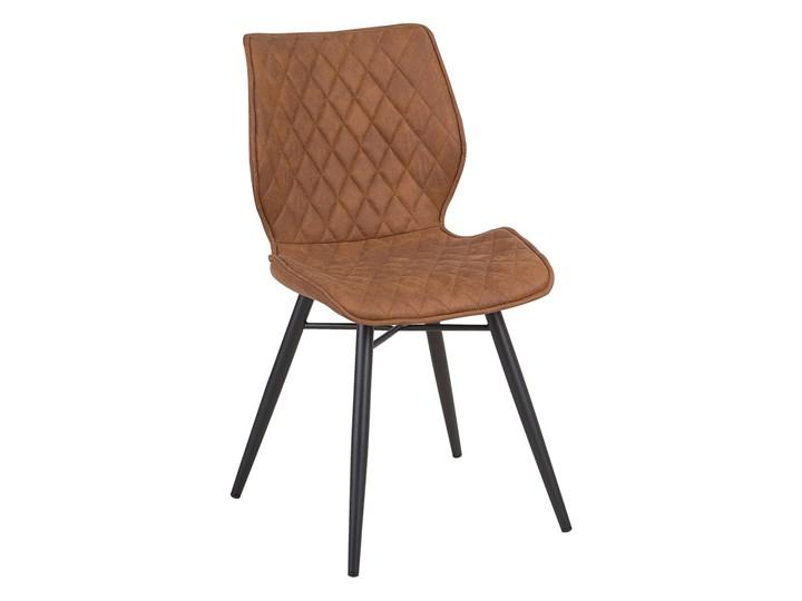 Zestaw 2 krzeseł brązowych tapicerowanych z metalowymi czarnymi nogami do jadalni styl nowoczesny industrialny Tworzywo sztuczne Drewno Tkanina Szerokość 44 cm Głębokość 56 cm Wysokość 86 cm Styl Vintage Tapicerowane Pikowane Pomieszczenie Jadalnia