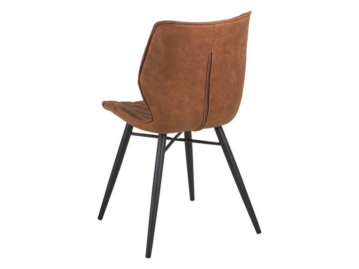 Zestaw 2 krzeseł brązowych tapicerowanych z metalowymi czarnymi nogami do jadalni styl nowoczesny industrialny Tkanina Drewno Pikowane Tworzywo sztuczne Szerokość 44 cm Tapicerowane Wysokość 86 cm Głębokość 56 cm Pomieszczenie Jadalnia