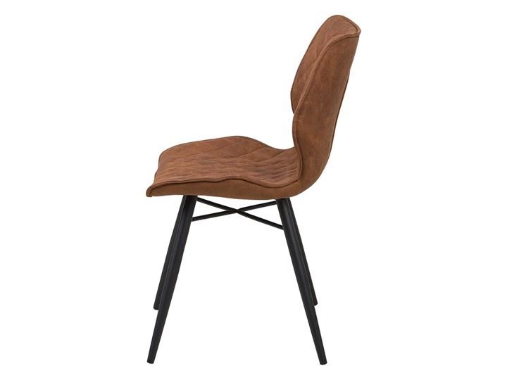 Zestaw 2 krzeseł brązowych tapicerowanych z metalowymi czarnymi nogami do jadalni styl nowoczesny industrialny Tworzywo sztuczne Wysokość 86 cm Pikowane Tkanina Tapicerowane Drewno Szerokość 44 cm Głębokość 56 cm Pomieszczenie Jadalnia