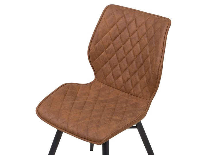 Zestaw 2 krzeseł brązowych tapicerowanych z metalowymi czarnymi nogami do jadalni styl nowoczesny industrialny Drewno Tkanina Szerokość 44 cm Tworzywo sztuczne Pikowane Pomieszczenie Jadalnia Głębokość 56 cm Tapicerowane Wysokość 86 cm Styl Vintage