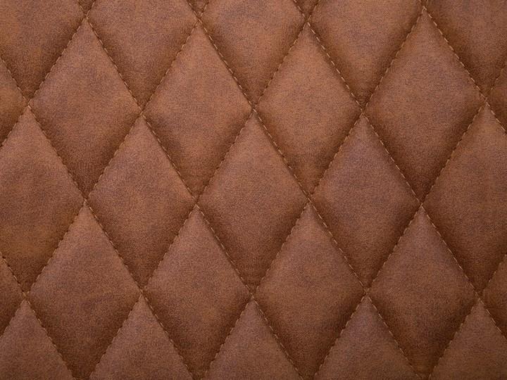 Zestaw 2 krzeseł brązowych tapicerowanych z metalowymi czarnymi nogami do jadalni styl nowoczesny industrialny Pikowane Szerokość 44 cm Tapicerowane Tworzywo sztuczne Tkanina Wysokość 86 cm Drewno Głębokość 56 cm Styl Vintage
